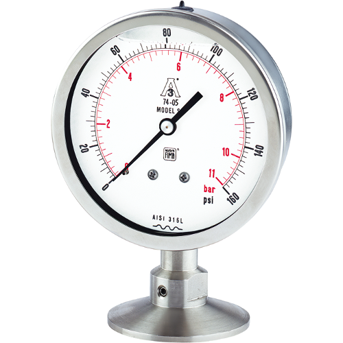 Tri-clamp pressure gauges