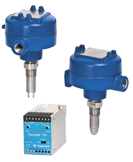 Thermal dispersion switches with remote electronics